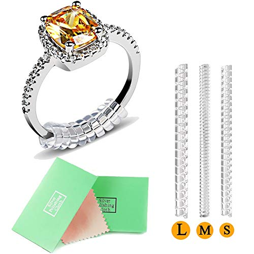 hicen reductor de anillos para Loose anillos, anillos reductores de anillo para amplia con plata gamuza, Set de 12,3 tamaños para cualquier anillos (2 mm/3 mm/4 mm)