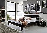 XXS Massiv-Holzbett Julia in Buche wenge, 140 x 200 cm, Bett mit hohem, geteilte Kopfteil, natürliche Maserung, massives widerstandsfähiges Buchenholz in dunklem Braunton