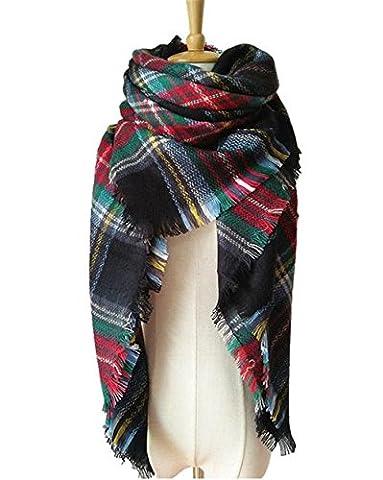 Hippolo automne et hiver imitation cachemire doppelseitigen multicolores Plaid Serviette écharpe écharpe 16 L(42)