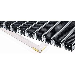 EMCO Eingangsmatte DIPLOMAT 22mm Gummi schwarz + ALU Rahmen Fußmatte Türmatte Abstreifer, Größe:1000 x 500 mm