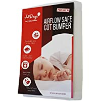 Airoya® Premium 2-sided Cot Bed Bumper, Double layers for extra-padding, Safety Standard Compliance - BS 1877, Breathable Safe Cot liner (White)