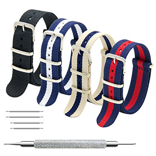 MEGALITH Uhrenarmband Packung mit 4 NATO Strap 16mm 18mm 20mm 22mm 24mm Ballistic Nylon Uhr Armband Zulu Uhrband mit Edelstahl Schnalle - 16mm Watch Timex Band