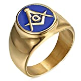 LANCHENEL Titan Stahl Freimaurer Überzogene 18 Karat Gold Tropfen Blau Gel AG Männlich und Weiblich Ringe,Größe 75(23.9)