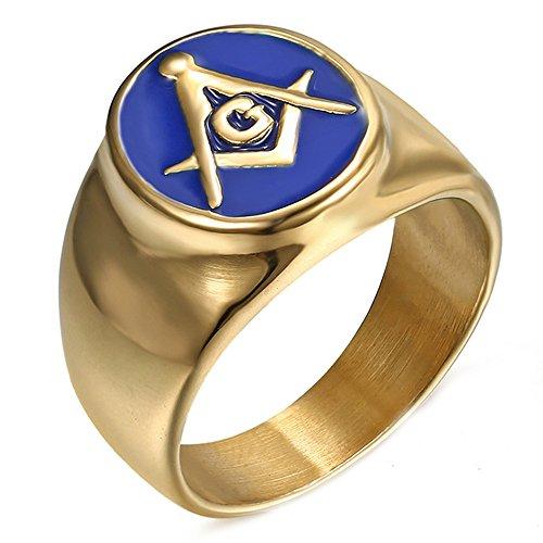 LANCHENEL Titan Stahl Freimaurer Überzogene 18 Karat Gold Tropfen Blau Gel AG Männlich und Weiblich Ringe,Größe 57(18.1) (Männlich-gel)