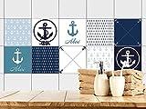 GRAZDesign 770388_20x20_FS30st Fliesenaufkleber Anker maritim Ahoi | Fliesenbilder für Bad | Blau - Weiß | Fliesen zum Aufkleben Bad | Selbstklebende Fliesen-Folie | 10er Set -verschiedene Motive (20x20cm // Set 30 Stück)