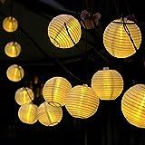 ProGreen Solar String Lights Lanterns, 19.5fts 30 LED Waterproof Outdoor Solar Lights Garden String Lights Fairy Lights Ball Globle Lights with Fabric Lantern for Party Garden Yard Home Christmas Decoration