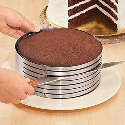 Color:plata Material: Acero inoxidableCon capa brecha, fácil de cortar su pastel.Producto nuevo molde para tarta, Material duradero, no es fácil a la oxidación.Anillo ajustable, cortar cualquier tamaño que usted desee.Perfecto para hornear DIY para c...