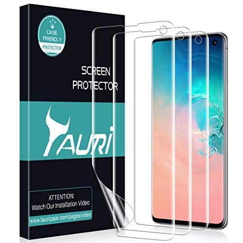 TAURI Pellicola Protettiva per Samsung Galaxy S10 [3 Pezzi] [Senza Bolle, Installazione Facile] Pellicola Protettiva in TPU HD Trasparente