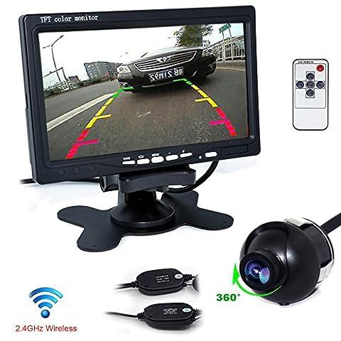 """Auto Wayfeng WF® Sans fil caméra vue arrière de voiture étanche 170 degrés angles de vision & PAL système + Ecran TFT LCD 7"""" (17,8 cm) avec LED Rétroéclairage et Support DVD Magnétoscope pour Voiture Noir"""
