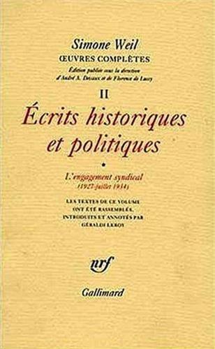 Oeuvres compltes, t. II. Ecrits historiques et politiques, vol. 1