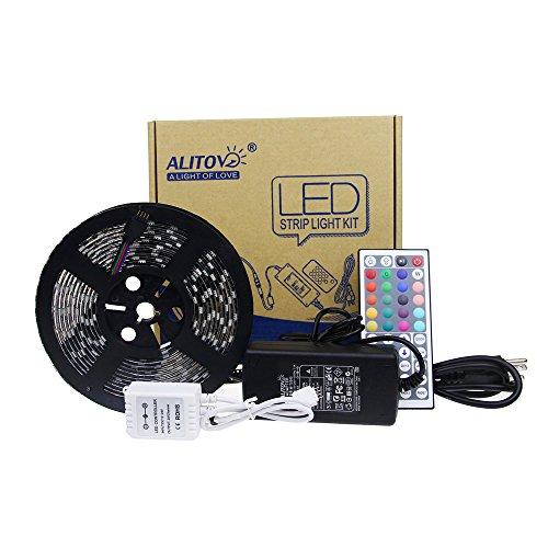 ALITOVE Black 5050 RGB 300 LED Strip IP65 With 44KEY IR Controller 12V 5A Power Kit Color Changing LED Flex Strip Ribbon Rope Light DC 12V Waterproof