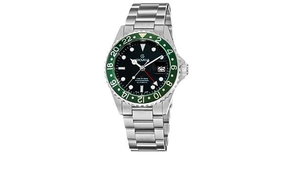 Grovana Men's 1572 2134 GMT GMT Black Dial Stainless Steel