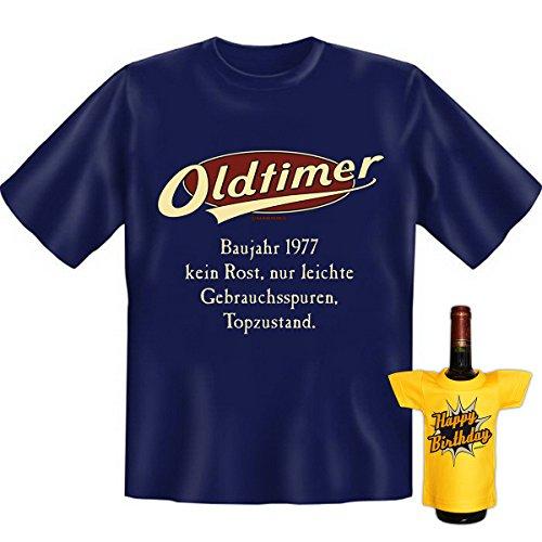 Geburtstags Set T-Shirt + Mini für die Flasche <->          Oldtimer Baujahr 1977          <->           ein kleines lustiges Geschenk Goodman Design®Navy-Blau Navy-Blau