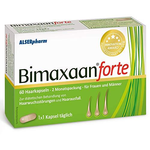 Bimaxaan forte gegen Haarausfall für Männer und Frauen! Haarwuchsmittel mit Biotin, Zink, Vitamine - kann Haarwachstum anregen. 60 Tabletten hochdosiert - Haare können schneller wachsen! Alserpharm
