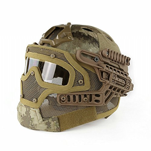 Sogar Predator Rüstung Drahtgitter Maske, Schutzbrille Integrierte Taktische Cs Outdoor-Ausrüstung,Ein,52-62cm ()