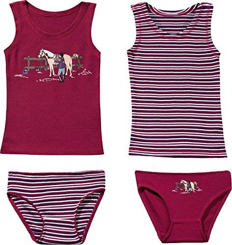 Kinderbutt Unterwäsche-Set 4-tlg. mit Druckmotiv Single-Jersey Fuchsia-Bunt Größe 86/92