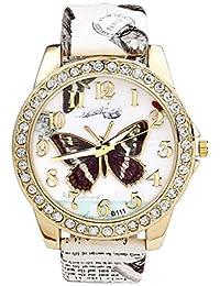 JSDDE Reloj Cuarzo con Patrón de Mariposa Correa de Cuero de Estilo Retreo(blanco)