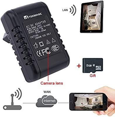 TEKMAGIC 8GB 1280x720P HD Inalámbrica WiFi Cámara Espía Adaptador de Corriente para Interiores Movimiento Activado Grabadora de Vídeo apoyar iPhone Android APP Vista Remota