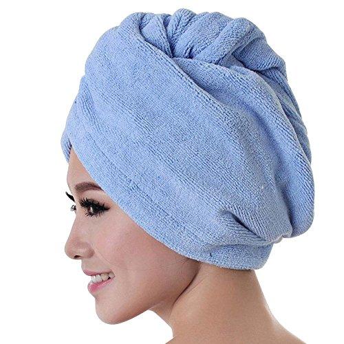 Beudylihy ProspekthalterMicrofibre Hair Towel Wrap Turban Towel Drying Bath Shower Head with Buttons Fast Dryer Magic Dry Hair Hat Bath Cap (Blau) -