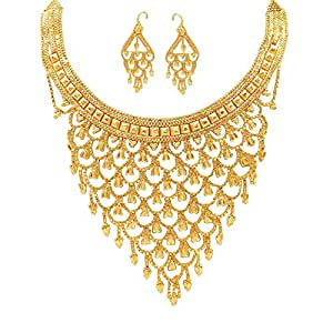 Mansiyaorange Real Look Party Golden Necklace Sets for Women(6 INCH Long)
