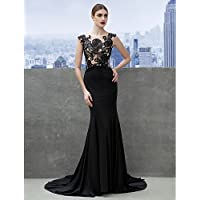 HY&OB Mermaid / Trumpet Scoop Neck Court Train Jersey Formal Evening Dress With Appliques