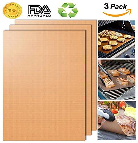 Ensemble de tapis de grill 3-100% antiadhésive pour barbecue et tapis de cuisson - Approuvé par la FDA, sans APFO, réutilisable et facile à nettoyer - Fonctionne sur le gaz, le charbon de bois, le gril électrique et plus - 15.75 x 13 po (Or)