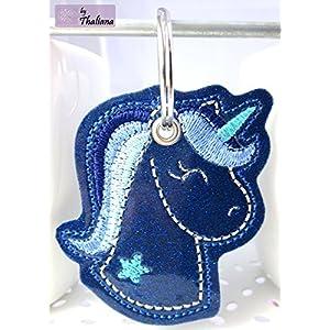 EINHORN Schlüsselanhänger blau glitzer hellblau magisch dunkelblau