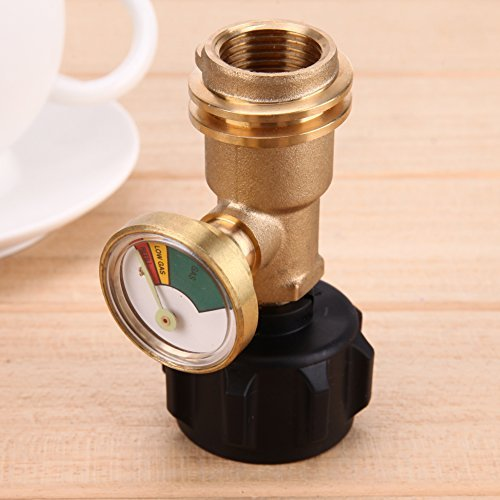 Broadroot Propan Tankanzeige Gas Grill Adapter BBQ Druckmesser Anzeige Kraftstoff Messing
