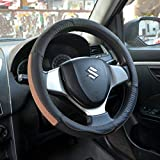 #5: Oshotto 100% Genuine Leather  Car Steering Cover (Black and Tan,Medium)