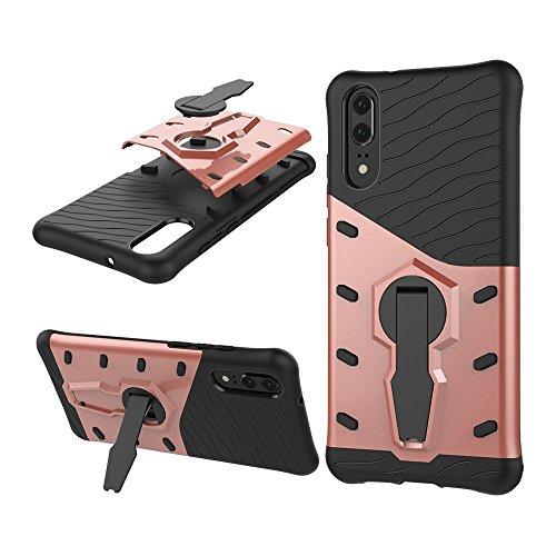 Phone Hülle Cover, Für Huawei P20, 360 Grad Spin Rüstung TPU + PC Fall für Huawei P20 mit Halter (Color : Rose Gold)