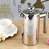 Pinkdose® 350Ml Silver Stainless Steel Insulated Coffee Tea Maker French Press Percolators With Filter Double Wall For Living Room Office
