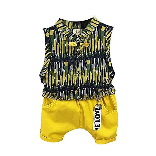 LABIUO Jungenkindabnutzung Ärmelloses Bedrucktes Kinderhemd Lässige Shorts 2 Teiliges Set Sommer Kostüm(Grün,5T)