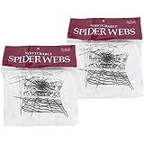lisli 2pcs gigante Stretch arañas Web Telaraña Halloween Bar fiesta casa encantada decoración prop