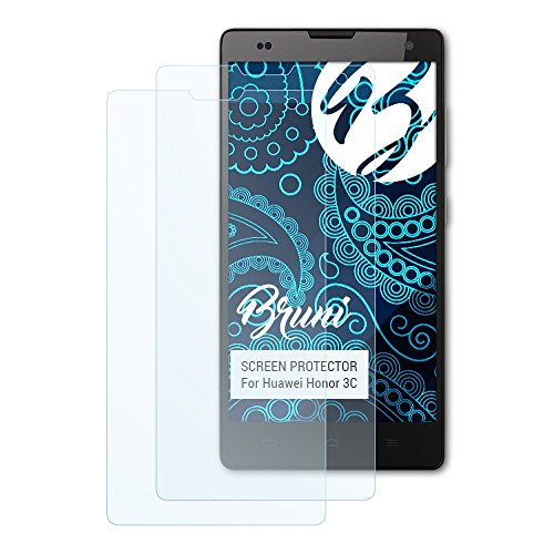 Bruni Schutzfolie für Huawei Honor 3C Folie, glasklare Bildschirmschutzfolie (2X)