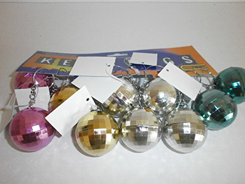 12 x bunte Discokugel an Schlüsselkette 3,5 cm Disco Party Deko