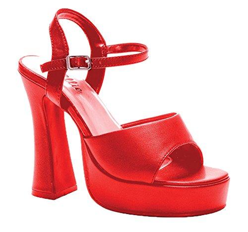 Geschoben Ferse Sandale, Rot - Rot - Größe: 41 EU B(M) (Rot Spike Heel Schuhe)