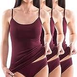 HERMKO 1560 3er Pack Damen Träger Top aus 100% Baumwolle, Farbe:bordeaux, Größe:44/46 (L)