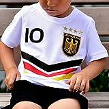 ElevenSports Deutschland Trikot mit GRATIS Wunschname + Nummer + Wappen Typ #DV günstig im EM/WM Weiss - Geschenke für Kinder,Jungen,Baby. Fußball T-Shirt personalisiert