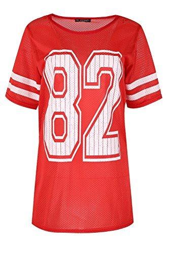 Damen Baggy Übergröße Sport Streifen Flügelärmel Airtex 82 Bedruckt Pullover T-shirt Top Uk Größen 8-22 Rot