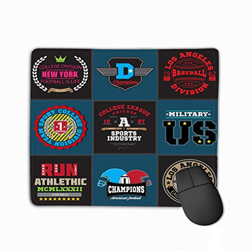 Mouse Pad Sport Athletic College Baseball Football Logo Emblem Collection Typography Design Apparel Champions Rectangle Rubber Mousepad 11.81 X 9.84 Inch -