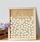 Susie85Electra Personalisierte Hochzeit Gästebuch Herz Drop, to Love Laughter Happily Ever After Hochzeit Gästebuch, Holz Auswahlfeld Gästebuch, Verlobungsring Geschenke 40x50cm