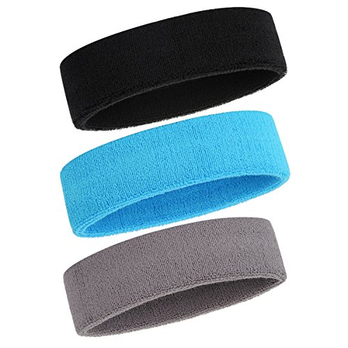 ONUPGO Schweißband Stirnband für Männer & Frauen - 3PCS Sports Stirnbänder Feuchtigkeitstransport Athletic Cotton Terry Cloth Schweißband Schweißabsorbierende Kopfband (Black/Grey/Neon Blue)