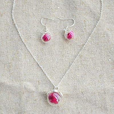 Rouge Rose Vraie Fleur Verre Boule Argent Sterling 925 Ensembles de bijoux Colliers avec pendentifs Boucles d'oreilles