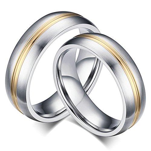 cke Edelstahl Ring für Ihn Homosexual Hochglanzpoliert Rund Breite 6MM Paarringe Hochzeitsringe Verlobung Ring Silber Größe 57 (18.1) & Größe 70 (22.3) ()
