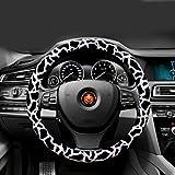 """ewinever(TM) 1 manera de las PC de la PU del leopardo de piel ruedas de coche de la cubierta antideslizante 38 cm (15 """"Negro + blanco)"""