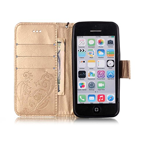 Mk Shop Limited Coque pour iPhone 5C,PU Cuir Flip Magnétique Portefeuille Etui Housse de Protection Coque Étui Case Cover avec Stand Support pour Apple iPhone 5C Multi-couleur 5