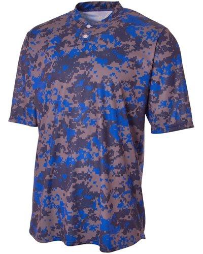 Youth Camo 2-Button Henley Shirt ROYAL XL (Shirt Camo Henley)