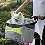 Petsfit Bicycle Pet Carrier, Dog Bike Front Carrier with Small Pockets, Bicycle Handlebar Small Pet Carrier with Shoulder Strap, 29cm x 21cm x 30cm, Green and Grey
