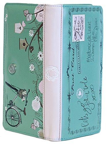 Shagwear portafoglio per giovani donne , Large Purse : Diversi colori e design : cartolina turchese chiaro/ Vintage Post Card