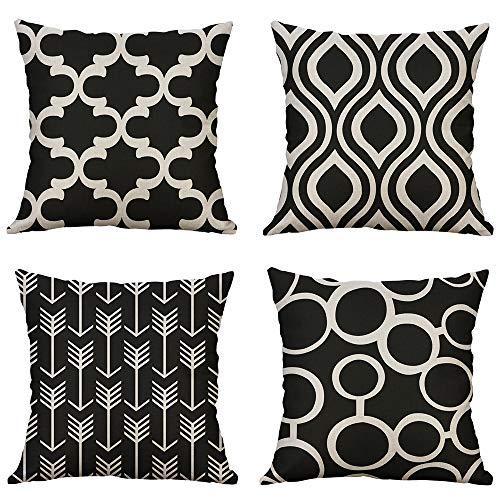 Miulee set di 4 cuscino stampato lino geometria federe decorativo quadrato federe cuscino set custodia per divano letto auto 18